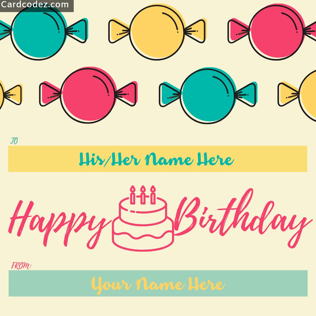 Write Name On Happy Birthday Kids Greeting Card Card Codez Name On Greeting Cards