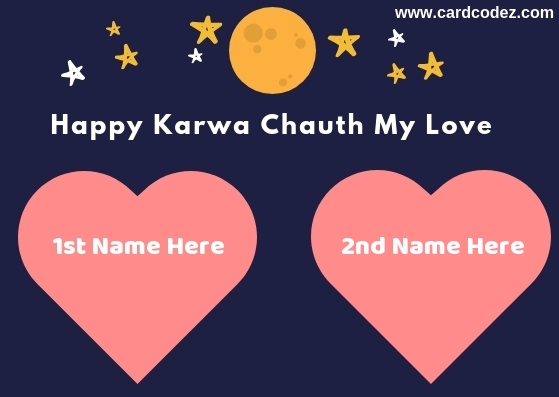 Karwa Chauth Husband and Wife Name in Heart Greeting Card