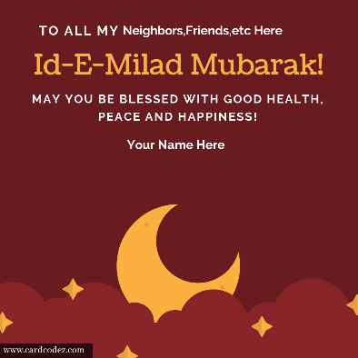 Id-E-Milad Mubarak 4k hd greeting card with name instagram facebook whatsapp card