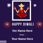 Write Name on Happy Diwali Greeting Card for Sister/Daughter