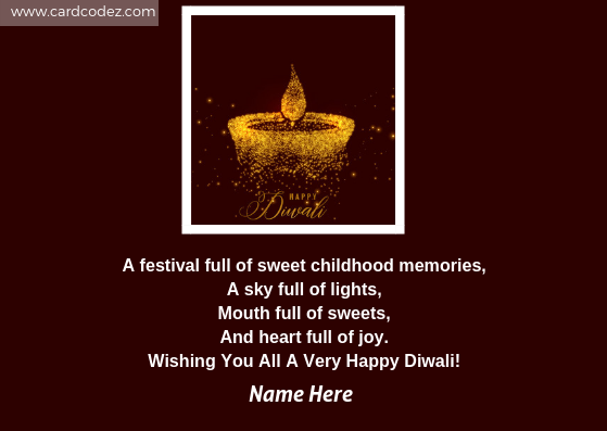 Write name on happy diwali to friends greeting card