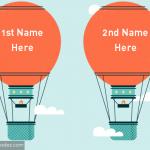 Write name on hot air balloon