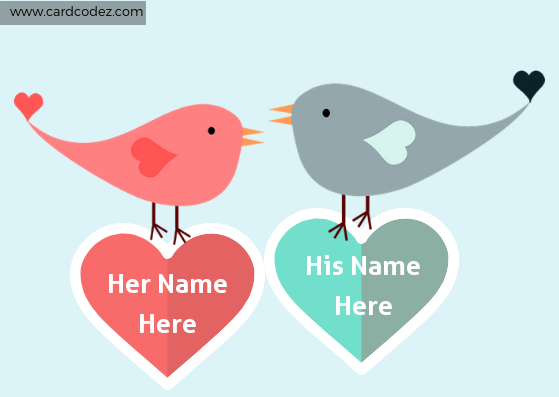 Write your and your lover name on heart. Love birds holding hearts with your and your lover name