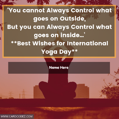 Write Name on International Yoga Day Wishes Greeting Card