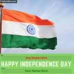 Write Name on Happy Independence Day Wish Greeting Card