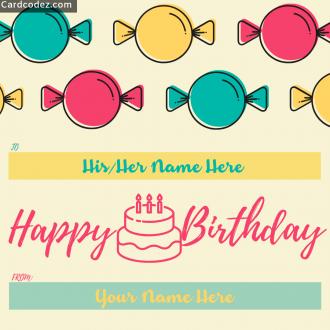 Write Name on Happy Birthday Kids Greeting Card