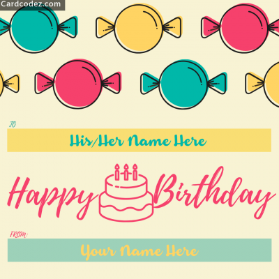 Write name on Happy Birthday Kids Greeting Card candy birthday wish photo for kids