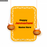 Happy Janmashtami Name Greeting Card