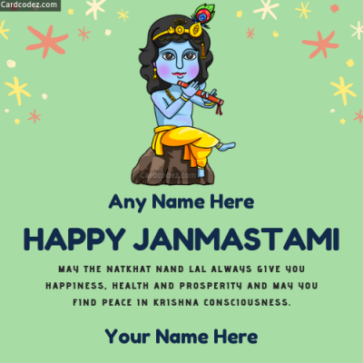 Happy Janmashtami Photo With Name - Wish Card whatsapp dp and status photos