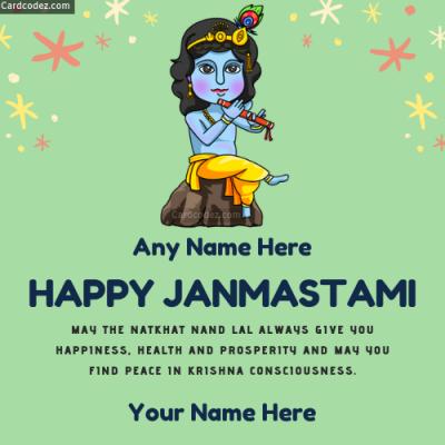 Happy Janmashtami Photo With Name - Wish Card whatsapp dp and status photos