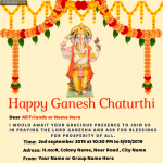 Make Online Ganesh chaturthi invitation whatsapp card with your name and date and address