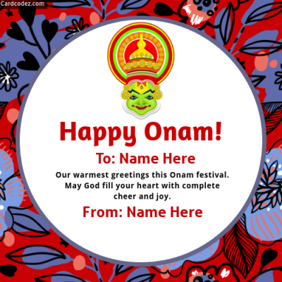 Name on Happy Onam Status Photo Wish Card