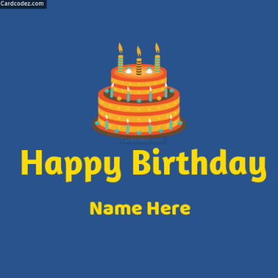 Simple Happy Birthday Cake Greeting Card With Name