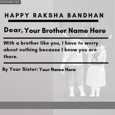 Write Brother Name and Sister on Raksha Bandhan WhatsApp Status Card