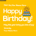 Write Name on Birthday Cake Photo Greeting Card