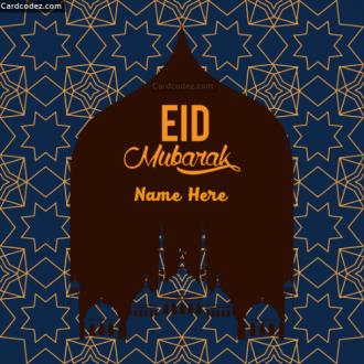 Write Name on Eid Mubarak Greeting Carda