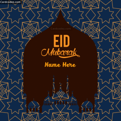 Write Name on Eid Mubarak Greeting Card whatsapp status photo