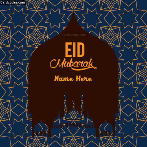 write name on eid mubarak greeting carda  card codez