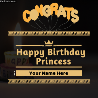 Write Name on Happy Birthday Princess Greeting Card