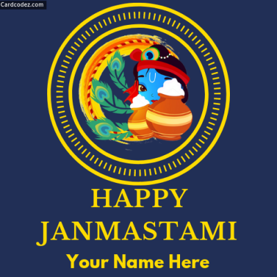 Write Name on Happy Janmashtami Whatsapp DP Photo