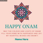 Write Name on Happy Onam Greeting Card Whatsapp status photo