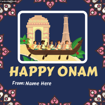 Write Name on Happy Onam Photo Card