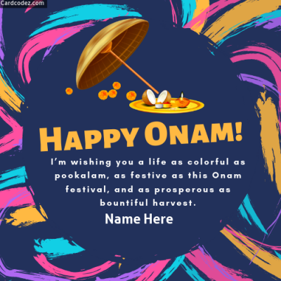 Write Name on Onam Festival Greeting Card