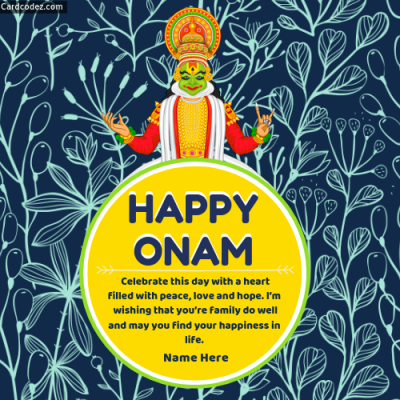 Write Name on Onam Wishes Greeting Card in English Photo Card for whatsapp