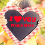Write name on Heart with I Love You photo Greeting Card