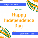 Write name on Wish You a Happy Independence Day Greeting Card photo