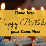 Write name on happy birthday greeting card with to name and from name