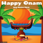 Write name on happy onam greeting card