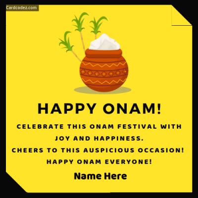 Write name on happy onam wish name card