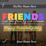 Write your and your friend name on happy friendship day greeting card