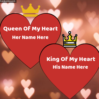 💕 Write Couple Name on Hearts King and Queen of My Heart Photo