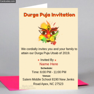 📝 Durga Puja Invitation Card Maker For Whatsapp