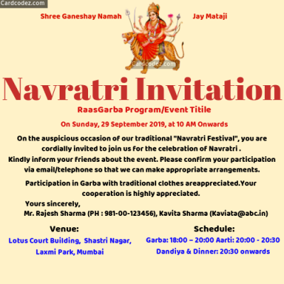 Make Navratri Festival Event Invitation Card Maker Online - Garba Dandiya Invitation for whatsapp