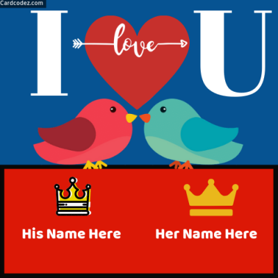 Name on I Love You Birds Whatsapp Photo Status