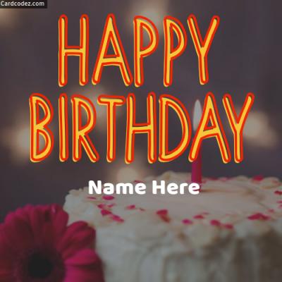 Write Name On Happy Birthday Cake Photo