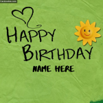 Write Name On Happy Birthday Card made by Kids Photo