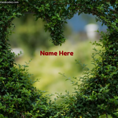Write Name on Green Heart Photo