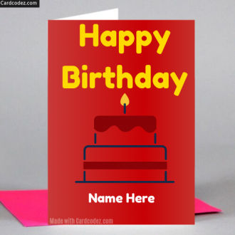 Write Name on Happy Birthday 🎂 Cake Greeting Card Photo