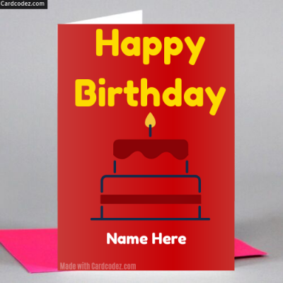 Write Name on Happy Birthday Cake Greeting Card Photo