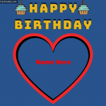 Write Name on Happy Birthday Heart Greeting Card