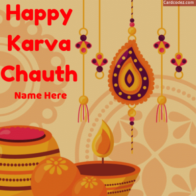Write Name on Happy Karva Chauth Card