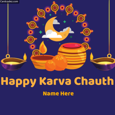 Write Name on Happy Karva Chauth Greeting Card