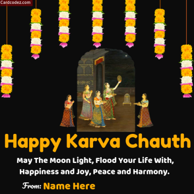 Write Name on Happy Karva Chauth Photo Status