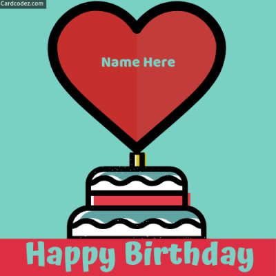 Write Name on Heart Happy Birthday Love Photo