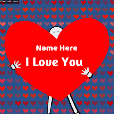 Write Name on I Love You Heart Photo