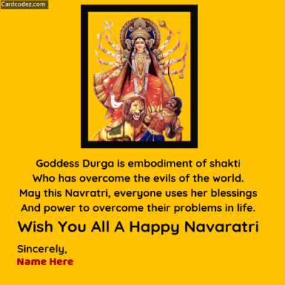 Write Name on Wish You All A Happy Navaratri Greeting Photo Card